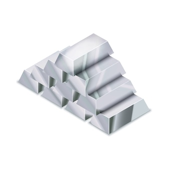 Large heap of realistic glossy silver bars in isometric view on white