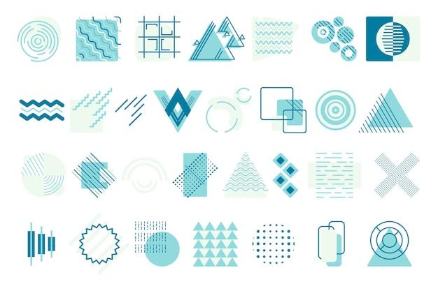 大きな孤立したベクトルの幾何学的形状。さまざまな円形、正方形、三角形の抽象的な形。背景のジグザグ、線、点の要素。