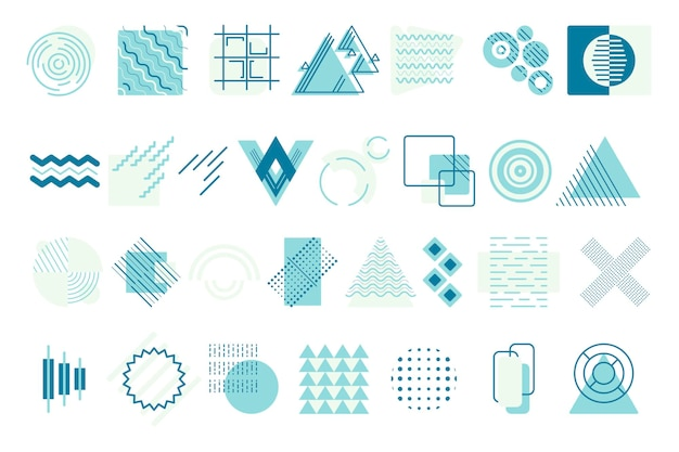 Large isolated vector geometric shapes. various round, square and triangular abstract forms. elements of zigzags, lines and dots for the background.