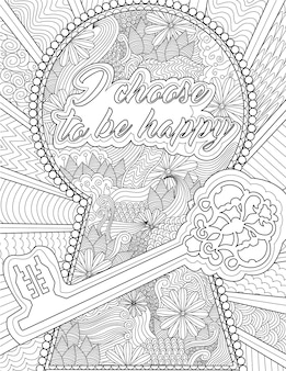 Large key with big lock hole with flowers inside colorless line drawing huge keyhole with message