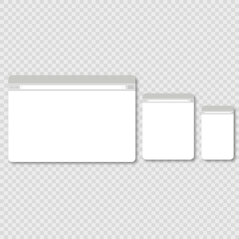 Large, medium and small browser window on a white background with shadows