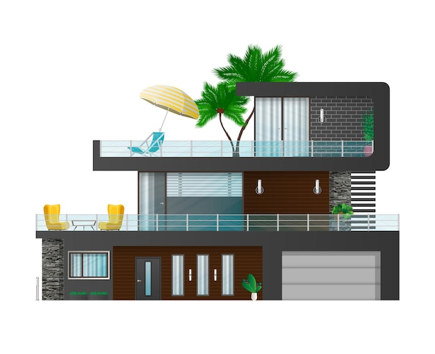 현대적인 대형 3 층 주택입니다. 코티지, 그림자가있는 타운 하우스. 외부 별장의 건축 시각화.