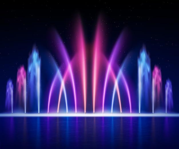 大規模なマルチカラーの装飾的なダンスウォータージェットは、夜のリアルなイメージイラストで光噴水ショーを主導