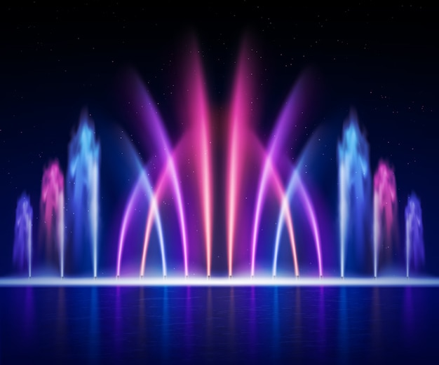 Large multi colored decorative dancing water jet led light fountain show at night realistic image illustration