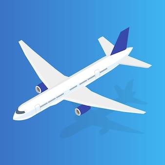大型旅客機の3dアイソメトリックイラスト。フラットで高品質な輸送。ベクター。