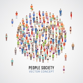 Large people crowd in circle shape. society, people community vector concept