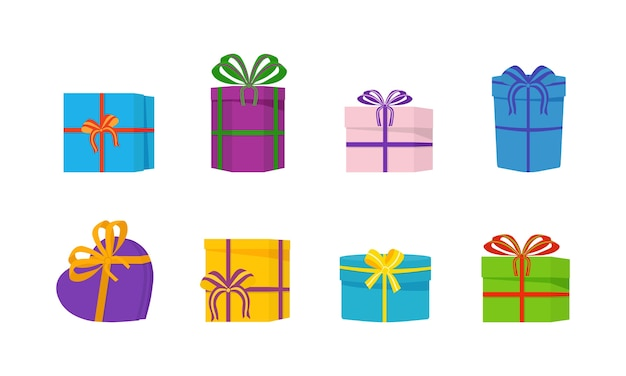 A large pile of beautiful gift boxes on white background.