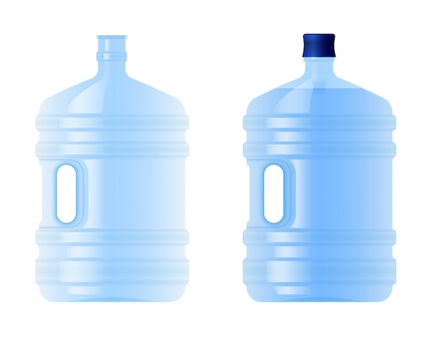 Large plastic bottle with water. volume five gallons. clean spring or purified water. empty and full.