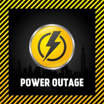 Large power off button, warning poster in yellow and black. 3d style.