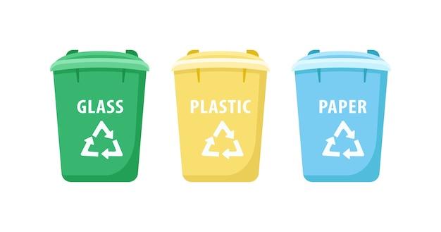 Набор плоских цветных объектов большие мусорные баки. разделение отходов бумаги и стекла. контейнеры для отходов изолированные мультфильм