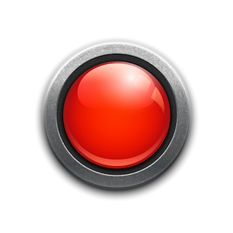 Large red button in a metal rim with reflections and drop shadow