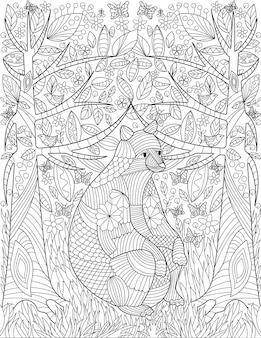 Большой грызун сидит между двумя деревьями на фоне леса с насекомыми, летающими по бесцветной линии