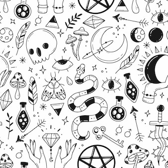 Large seamless pattern with black and white magic doodle elements on the theme of esotericism magic