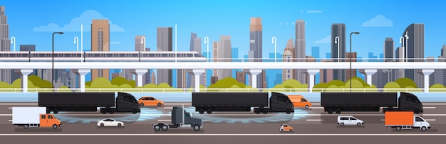 Large semi truck with trailers on highway road with cars and lorry over city landscape shipment