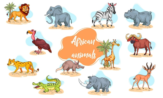 Large set of african animals. funny animal characters in cartoon style. children's illustration. vector collection.