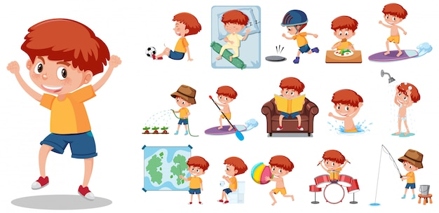 Large set of boy doing different activities on white