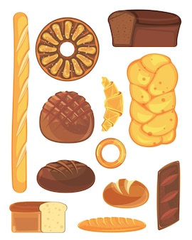 Large set of bread and bakery products.