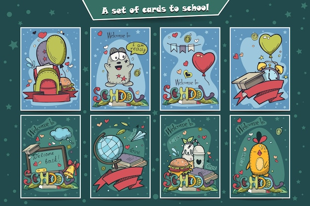 A large set of colored cards with doodles back to school