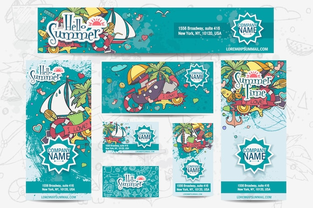 A large set of  corporate templates on a summer theme