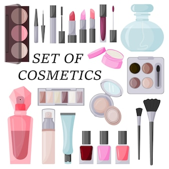 A large set of decorative cosmetics vector illustration isolated on a white background Premium Vector
