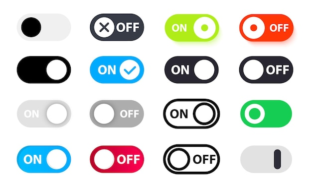 Large set of different switches on off. on and off toggle switch button vector format. toggle slide for mobile app, social media. modern devices user interface mockup or template