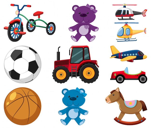 Large set of different toys on white background