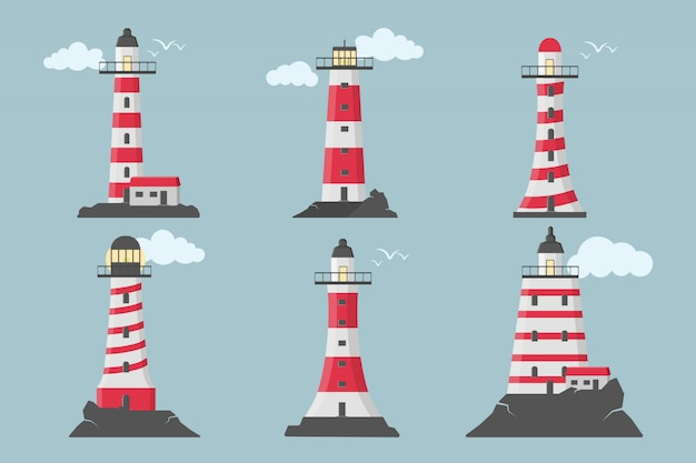 Large set of flat beacons. lighthouses with clouds in flat design. search towers with a searchlight beam for marine navigation of ships.