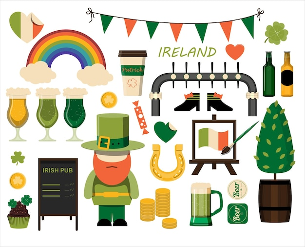 A large set of flat icons for saint patrick s day a set of illustrations for a party invitation post...