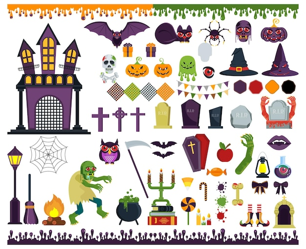 Large set of flat vector icons for decorating greeting and promotional products for halloween. sticker, badge and logo in form of monster, pumpkin, ghost or grave in cemetery. characters and objects.