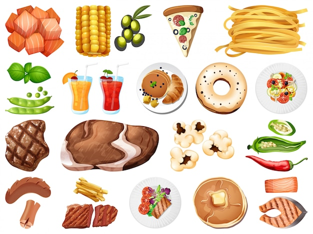 Large set of food and desserts on white background