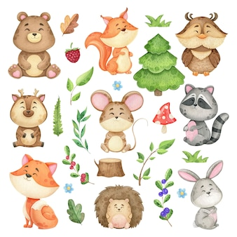 Large set of forest animals and forest design elements, watercolor collection of wild animals, children's