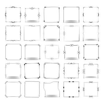 A large set of frames of different shapes. vector frame set