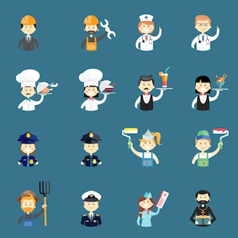 Large set of funny professional people avatars with a doctor  nurse  architect  builder  chef  cook  water  waitress  policeman  policewoman  painter  pilot  priest  air hostess and farmer