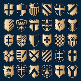 Large set of gold heraldic shields with emblems isolated on blue background. vector illustration.