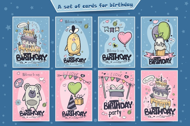 A large set of greeting cards for birthday of colored doodles