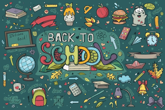 A large set of hand-drawn doodles back to school
