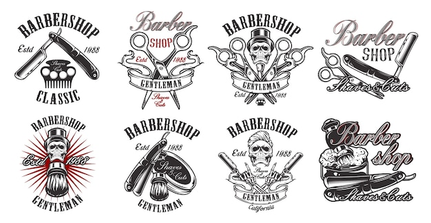 A large set of illustrations in vintage style for a barber shop with a skull