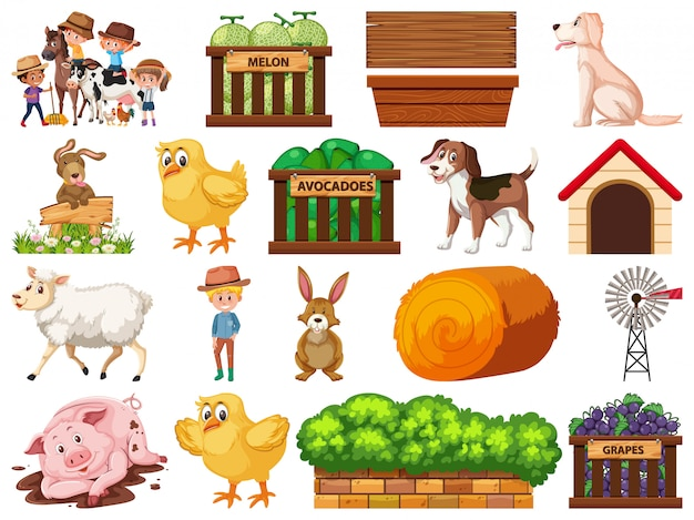 Large set of isolated farm objects
