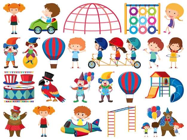 Large set of isolated objects of kids and circus