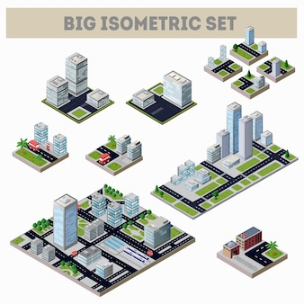 A large set of isometric city map with lots of buildings, skyscrapers, roads and factories