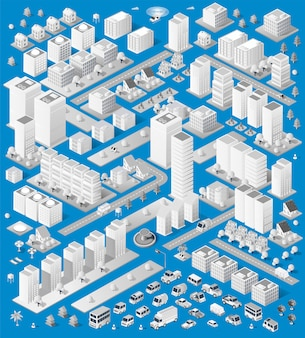 A large set of isometric urban objects. a set of urban buildings, skyscrapers, houses