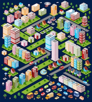 A large set of isometric urban objects.
