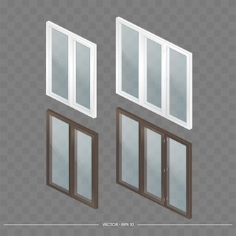 A large set of metal-plastic windows with transparent glasses in 3d. modern window in a realistic style. isometry, vector illustration.