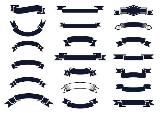 デザイン要素、イラストの空白の古典的なビンテージリボンバナーの大規模なセット