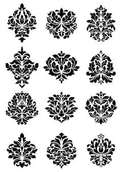 ダマスクスタイルのファブリックやテキスタイルに適した大胆な花柄のアラベスクモチーフの大規模なセット