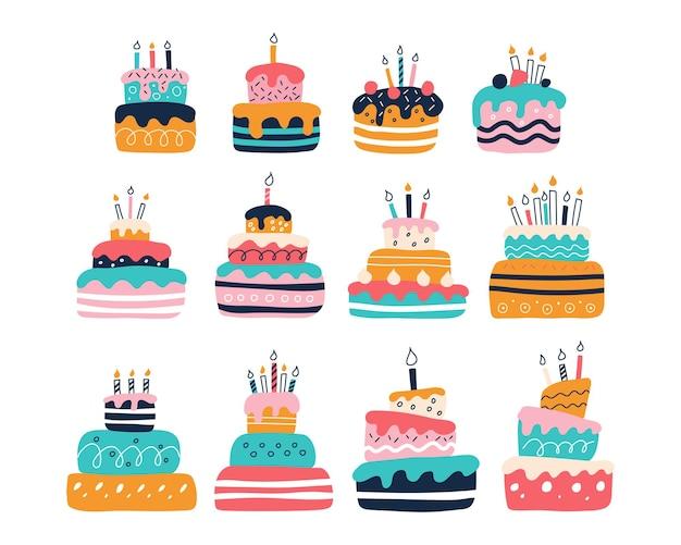 평평한 낙서 스타일의 흰색 배경에 밝은 다채로운 케이크의 큰 세트
