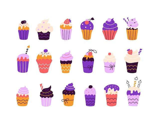 평평한 낙서 스타일의 흰색 배경에 밝은 다채로운 컵케이크의 큰 세트