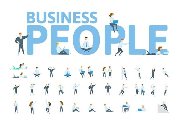 기업인과 사무실에서 일하는 비즈니스 숙녀의 대형 세트. 키워드, 문자 및 아이콘 개념입니다. 삽화. 흰색 바탕에. 프리미엄 벡터