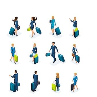 空港で荷物を持ってビジネスマンとビジネスレディーの大規模なセットのビジネス旅行、フロントビューとバックビュー。旅行するビジネスマン