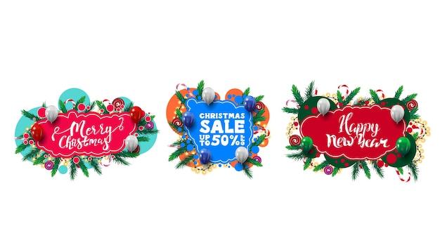 クリスマスツリーの枝、キャンディー、花輪で飾られた抽象的な形の落書きスタイルのクリスマスの挨拶と割引ウェブ要素の大規模なセット